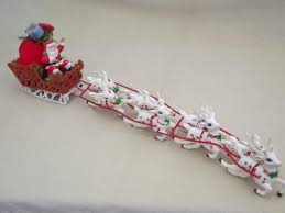 Christmas Decorations Santa Sleigh And Reindeer by Vintage Plastic Santa And 8 Reindeer Sleigh Christmas Tabletop