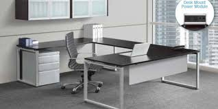 Desk U Shaped Modern U Shape Desk With Wall Mounted Overhead Office Furniture