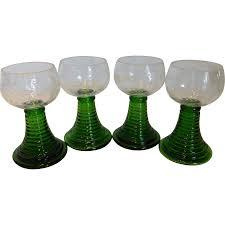 vintage german crystal wine goblets w emerald green ribbed stem