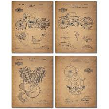 harley davidson wrapping paper harley davidson patent wall prints set of four