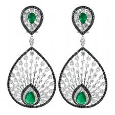 peacock earrings burdeen s jewelry diamond and emerald peacock earrings