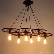 Modern Hanging Lights by Metal Retro Ceiling Lamp Light 6 Wheel Pendant Edison Bulb