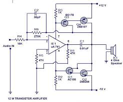 12 watts transistor lifier circuit diagram electrical