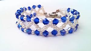 white bead bracelet images Easy tutorial on making a cute blue and white bead bracelet for jpg
