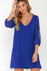 pretty royal blue dress shift dress cold shoulder dress 44 00