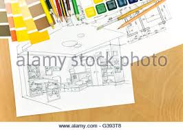 Interior Painting Tools Architectural Plans Of Room Interior On A Desk With Painting Tools