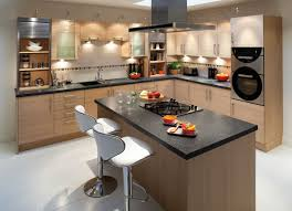 u shaped kitchen layout with black granite galaxy countertop on