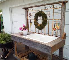 simple outdoor potting bench with sink u2014 the kienandsweet