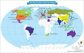 world map by cities world map showing the world s best cities for artists our world