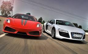 lexus vs audi r8 2010 audi r8 5 2 v10 fsi quattro vs 2009 ferrari 430 scuderia