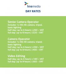 videographer prices videographer day rates hne media services limited