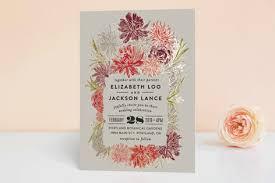 minted wedding invitations dahlia bouquet foil pressed wedding invitations by alethea and