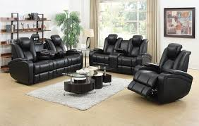 Leather Reclining Living Room Sets Furniture Delange High Tech Reclining Living Room Set