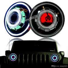jeep black headlights hid 7 35w led projector headlight for jeep cj wrangler jk led