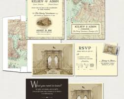 wedding invitations new york bridge wedding invitations etsy