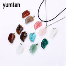 make stone pendant necklace images Wholesale mix 12 pcs lot agate carving leaf shape natural stone jpg