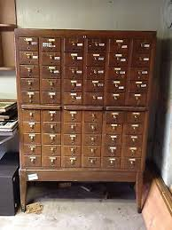 Library Catalog Cabinet Antique American Vintage Wood Brown Library Card Catalog Cabinet