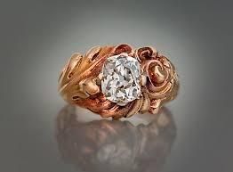 rings art images Art nouveau antique 1 56 ct cushion cut diamond carved gold ring jpg
