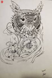 nice sketch of amazing owl and clock tattoo with flower golfian com