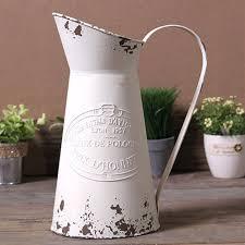 Large Metal Vase Amazon Com Vancore Shabby Chic Large Metal Jug Flower Pitcher