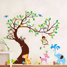 large tree animals monkey owl wall stickers wall decals