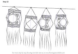 learn how to draw diwali lanterns diwali step by step drawing