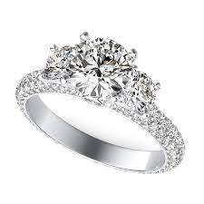 three stone engagement rings yiara three stone engagement ring with eternity micro pave shank