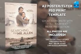 a3 movie poster print template 1 flyer templates creative market