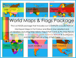 World Map With Flags Montessori World Continent Maps Flag 3 Part Cards U0026 Pin Map
