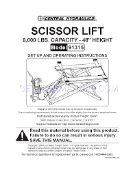 central hydraulics automobile parts scissor lift 916315 user u0027s
