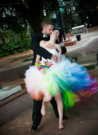 15 brides wearing beautiful rainbow wedding dresses first for women
