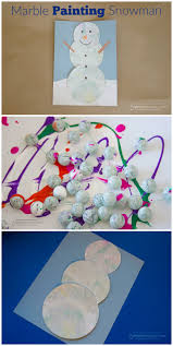 marble painting snowman fun winter art project for kids 5