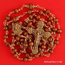 sacred heart rosary sacred heart of jesus rosary made of wood wire wrapped in bronze