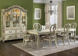 Silver Dining Room Set rectangle leg dining table with solids hardwood and antique ivory