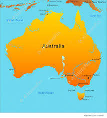 map of australia illustration of map australian continent and australia