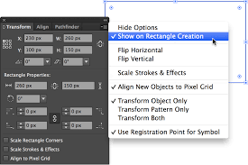 adobe illustrator rectangle properties and transform panel
