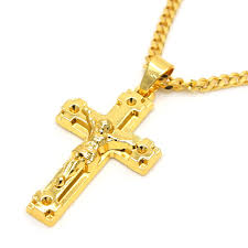 real gold cross necklace images Gold color jesus cross pendants high quality fashion hiphop franco jpg