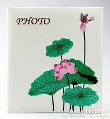 Handmade Leather Photo Albums High Quality 12 Inch Handmade Fancy Lotus Embroidery Pu Leather