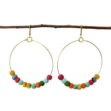 hoops earrings india kantha beaded hoop earrings handmade and fair trade global