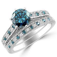 blue diamond engagement rings wedding bands