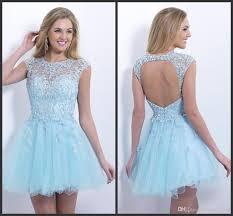 2015 sky blue prom dress jewel neck applique beading backless