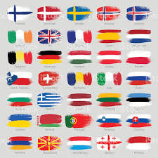 World Map Country Flags Colorful Brush Strokes Painted European Countries Flags Set Stock