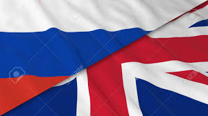 flags of russia and the united kingdom split russian flag and