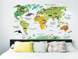 World Map Wall Decor 60x90cm Cute Funny Animal Wall Stickers For Kids Rooms Living Room