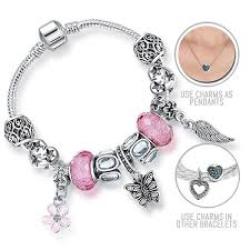 bracelet style pandora with charms images Pink butterfly wings silver pandora style bracelet combo set with jpg