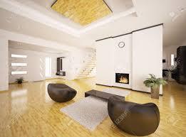 interior of modern apartment living room hall 3d render stock
