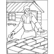 worker building wall house coloring