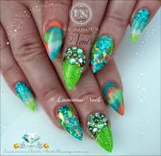 purple and turquoise nail designs