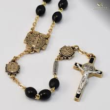 free rosaries st benedict rosary antique gold plated black wood free