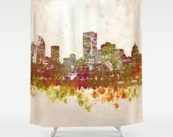 Skyline Shower Curtain City Shower Curtain Etsy